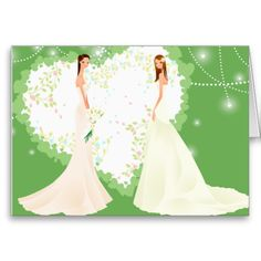 Green Wedding Invitation Greeting Cards