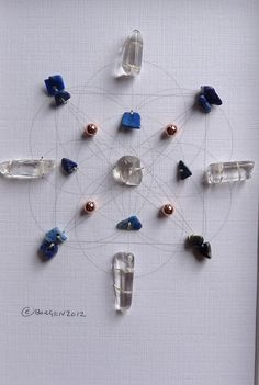 AWARENESS INSIGHT TRUTH--- framed sacred crystal grid --- lapis lazuli, copper, quartz
