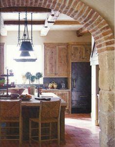 wood, stone, brick, exposed beams. i'm in