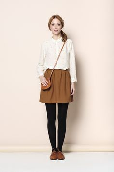 Brown Perry skirt 93% cotton, 7% polyamide - jupe - Des Petits