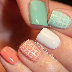 Three color colour nail art: Turquoise mint, coral and white nail art with xoxo pattern