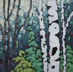 Blue Birches by Jennifer Woodburn Painting Lessons, Art Lessons, Painting & Drawing, Encaustic Painting, Landscape Quilts, Landscape Art, Tree Art, Art Techniques, Painting Inspiration