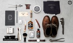 """Beautiful branding and products from Cavalier Essentials, a """"a line of vintage products designed for the rugged, yet sophisticated gentleman"""" . By Taylor Pemberton Things Organized Neatly, Wit And Delight, Style Hipster, Art Of Manliness, Fashion Project, Gentleman Style, Modern Gentleman, Modern Man, Mode Style"""