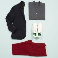 Des Baskets avec une veste ? Oui oui oui ! Jouez sur un contraste de style !  pantalon TZ476- vesteTZ708 - chemise en ligne prochainement - baskets TJ757