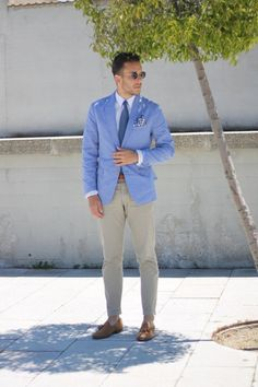 Khakis and Powder Blue Fitted Blazer