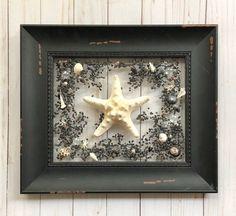 "12x14"" B Black And White Design, Sun Catcher, Resin Art, Starfish, Framed Wall Art, Sea Shells, Coastal, Etsy Shop, Windows"
