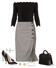 "So elegant and oh so chic! Simpe chic elegance is a very fab way to bring out your inner ""Power Chickness"" Love all of this! Blouse, bangle and earrings, skirt, shoes and bag. Oh so fab indeed!"