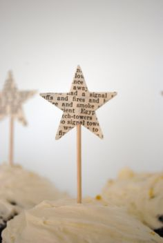 12 Star Cupcake Picks, made from vintage paper Star Cupcakes, Cupcake Picks, Cupcake Toppers, Noel Christmas, Christmas Crafts, Christmas Decorations, Xmas, Paper Crafts, Diy Crafts