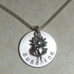 Sunshine Hand Stamped Sterling Silver Necklace with Sunflower by #Dolphinmooncreations.com #sunshinenecklace #sunflowernecklace