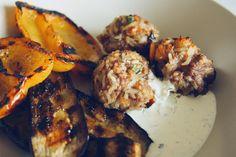Beef, Lamb + Rice Meatballs with Mint Tzatziki