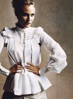 White blouse w/embroidered bodice & full sleeves w/tight 5-button cuffs - blouses, golden, linen, dress, wrap, satin blouse *ad