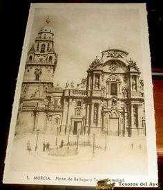 ANTIGUA POSTAL DE MURCIA - PLAZA DE BELLUGA Y TORRE CATEDRAL - SUCESORES DE NOGUES - SIN CIRCULAR