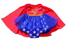 Wonder Woman Sparkle Romper Baby Halloween Costume: perfect for our super hero themed  family Halloween costumes this year!! #bellethreadspinterest