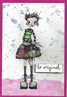 Artwork created by Cath Sheard using rubber stamps designed by Daniel Torrente for Stampotique Originals