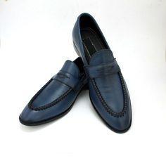 Handmade Mens Navy blue moccasins shoes, Men leather shoes slip ons loafer - Dress/Formal