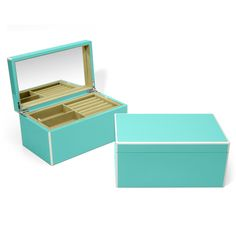 """The Swing Deisgn Elle Lacquer Box Collection is elegantly hand crafted in limited quantities. The two-tone detailing, high gloss finish, and velvety soft interiors make these boxes luxurious keepsakes. The jewelry box features metal hinges, a mirror, and 2 removable trays with compartments for rings, watches, necklaces, bracelets, and earrings. 11"""" x 6.5"""" x 5.25"""""""