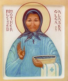 Matushka Olga was a Native Alaskan. She isn't yet officially a saint, although she is widely venerated, especially by those who have suffered from abuse.