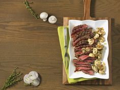 Strip Loin Steak with Sautéed Mushrooms | Canadian Beef