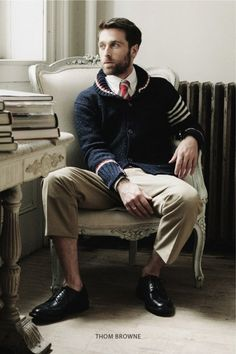 Sweater, tie..no socks. Can you dig it? By Thom Browne.