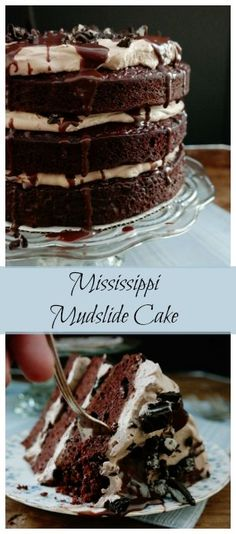 Mississippi Mudslide Cake-from the Grandbaby Cakes Cookbook, 3 layers of rich cake sandwich a Kahlua infused chocolate whipped cream, crushed cookies and chocolate ganache, this is a chocolate lovers dream cake! Chocolate Whipped Cream, Chocolate Ganache, Just Desserts, Delicious Desserts, Yummy Food, Cupcakes, Cupcake Cakes, Chocolate Lovers, Chocolate Recipes