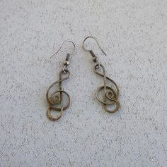 Vintage  Silver  Musical Note  Dangle  Earrings by Vintix on Etsy