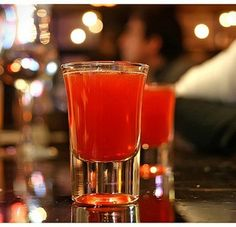 Red Headed #cocktail ~ 1/3 Shot of peach schnapps,   1/3 Shot of Jagermeister,  Cranberry juice