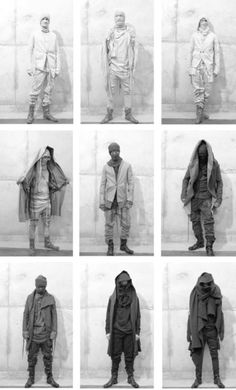 I love dystopian fashion, but I have to say, the bottom right looks like he was all ready for his shot when a sudden gust of wind tossed his cape up over his shoulders and they didn't bother to retake the pic.  Dystopian Fashion, Boris Bidjan Saberi