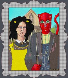 """Grant Wood is my inpiration for """"Gothic Ralph and Sarah,"""" by Nicole Rubel. www.nicolerubel.com"""