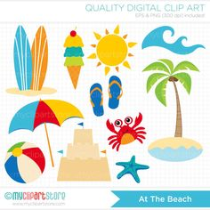 ON SALE Clipart Summer Clipart / A Day At The by MyClipArtStore