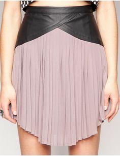 leather panel pleated skirt