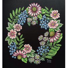 Loved colouring every bit of this wreath from Maria Trolle's Blomstermandala #mariatrolle #blomstermandala #blomstermandalamålarbok #tavelbok #tulips #daffodils #fotgetmenots #flowers #progresso #prismacolor #kohinoor #coloring #coloringbook #colouredpencils #enchantedcoloring #artecomoterapia #coloring_masterpieces #coloring_secrets #bayan_boyan #colorindomeujardimencantado #docepapelatelier #wreath #blackbackground