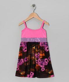 Loving this Pink & Black Flower Dress on #zulily! #zulilyfinds