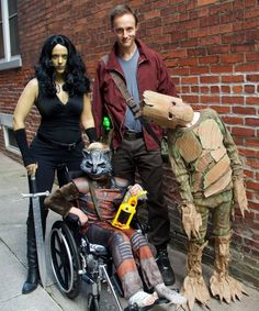 Family Guardians of the Galaxy costumes. DIY Star Lord, Gamora, & Groot costumes.
