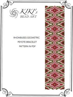 Peyote pattern for bracelet - Rhombuses geometric peyote bracelet cuff PDF pattern instant download
