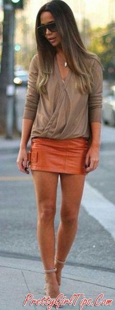 #spring #summer #street #style #inspiration | Nude   Orange Leather
