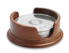 Match Pewter | Coasters with Wood Holder