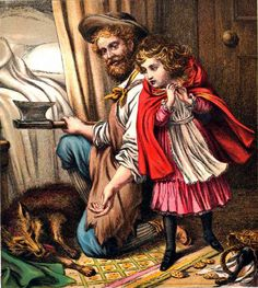Victorian illustration of Little Red Riding Hood (depicted here is the WOodcutter who slayed the wolf)