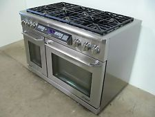 "DACOR ER48DSCH 48"" DUAL FUEL RANGE STOVE DOUBLE OVEN 6 BURNERS STAINLESS STEEL"