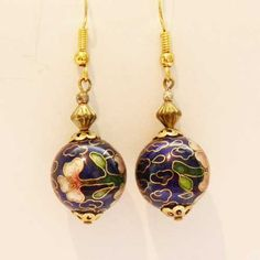 Fabulous blue and pink flower Cloisonne bead drop earrings For pierced ears and with gold tone hooks Well made Cloisonne enamel beads Timeless