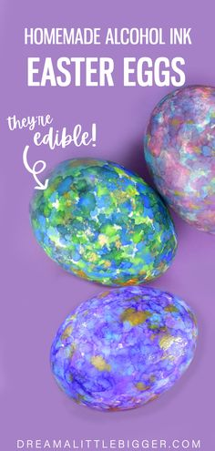Aren't these Easter eggs so pretty? See how we made edible alcohol inks for gorgeous eggs that are still safe to eat!