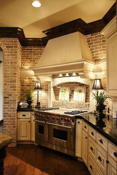 Love this! The colors,  the moulding, the brick! home-decor Nice Kitchen, Kitchen With Brick, Kitchens With Brick Walls, Kitchen Stove, Awesome Kitchen, Kitchens With Brick Backsplash, Rustic Backsplash, Rustic Kitchen, Country Kitchen Plans
