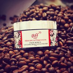 FACE SCRUB with Coffee Beans & Dead Sea Salt.  A Natural Exfoliation treatment, for skin tightening & glow.
