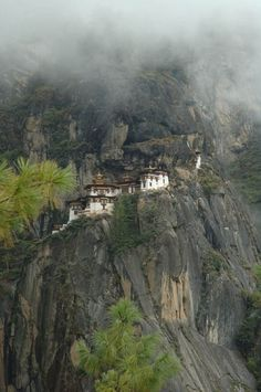 The Taktshang Tiger's Nest monastery in Bhutan clings to a cliff 2300 feet above the Paro Valley floor.