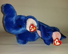 TY Peanut Royal Blue Elephant Beanie Baby Buddy Lot 1st 3rd Gen Gold Card  1995  Ty 122950596d1a
