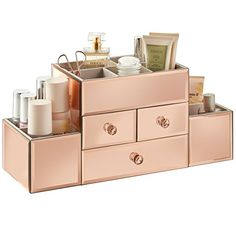Awesome Beautify Large Mirrored Rose Gold Glass Jewelry Box & Cosmetic Makeup Organizer … Beautify Large Mirrored Rose Gold Glass Jewelry Box & Cosmetic Makeup Organizer with 3 Drawers, 9 Sections and Glass Cleaning Cloth Rose Gold Room Decor, Rose Gold Rooms, Room Decor Bedroom Rose Gold, Rose Decor, Rangement Makeup, Make Up Organizer, Glass Jewelry Box, Gold Jewelry, Rose Gold Mirror