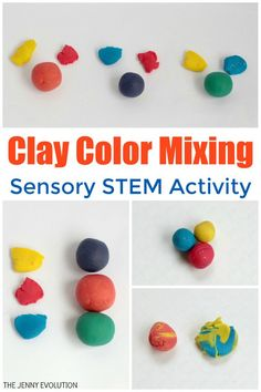 Modeling Clay Color Mixing for Kids - Easy to teach kids about colors! Sensory Activities Toddlers, Math Activities For Kids, Color Activities, Sensory Bins, Science For Kids, Infant Activities, Toddler Preschool, Sensory Play, Learn Science