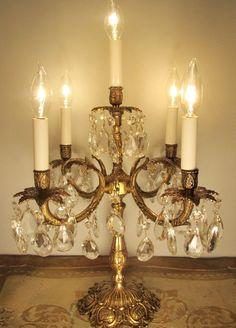 Vintage Candelabra Table Lamp Solid Brass & Crystals ~ 5 Chandelier Lights #European