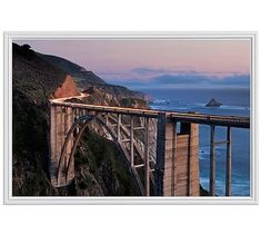 "Bixby Bridge Dusk Framed Print By Katherine Gendreau, 28x42"", Ridged Distressed Frame, White, No Mat"