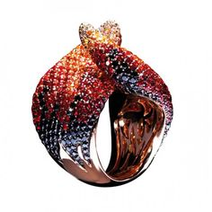 PALMIERO | Fire ring in pink gold with black and white diamonds and sapphires
