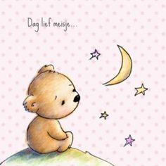 Babyrouwkaartje beer met sterren meisje